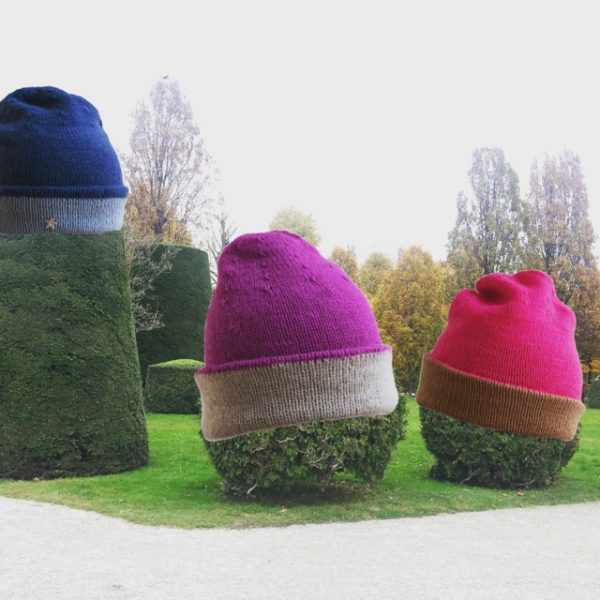 Cashmere Mütze, Haube, Handstrick, Upcycling